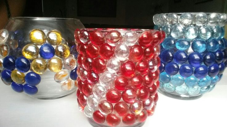 Glass beads on vases