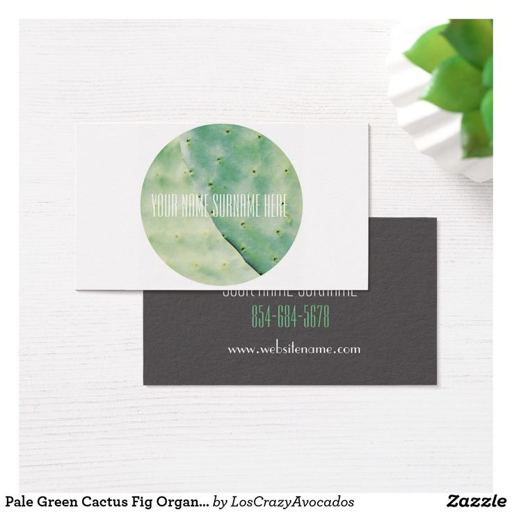 Pale Green Cactus Fig Organic Feel Business Card