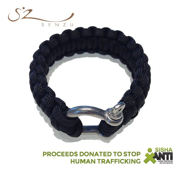 Senzu Survival Bracelet in Black - Supporting SISHA in their fight against human trafficking and exploitation. Great gift! $29