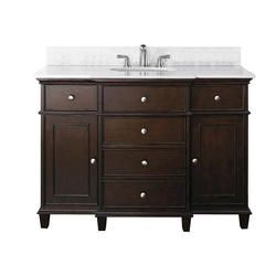 H Vanity In Walnut With Marble Top Carrera White And Basin