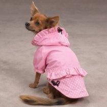 Polka Dot and Ruffles Dog Raincoat