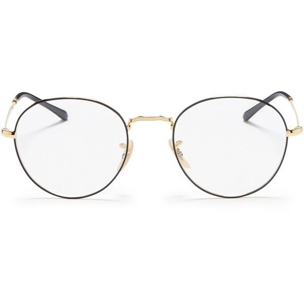 Ray-Ban 'RX3528V' metal round optical glasses ($150) ❤ liked on Polyvore featuring men's fashion, men's accessories, men's eyewear, men's eyeglasses, black, mens round eyeglasses and ray ban mens eyeglasses