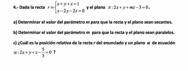 Ejercicio 4A 2015-2016 Junio. Propuesto en examen pau de Canarias. Matemática. Geometría métrica.