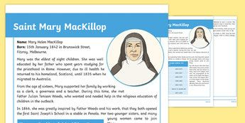 Saint Mary MacKillop Fact File-Australia