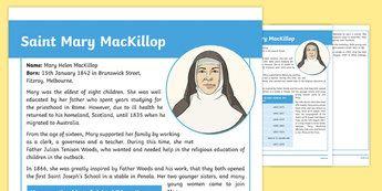 Saint Mary MacKillop Fact File-Australia