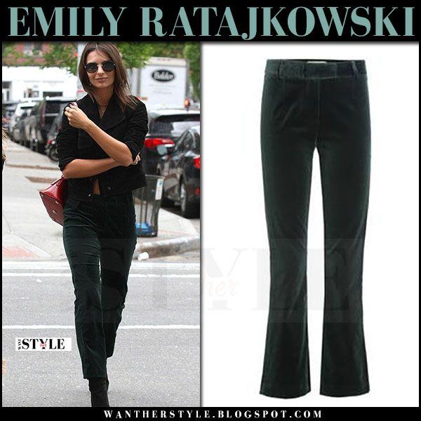 Emily Ratajkowski in dark green velvet pants frame denim