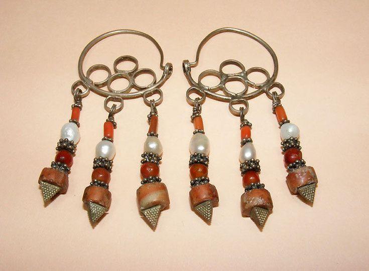 antik Orient nomaden Silber Ohrringe korallen afghan turkmen silver earring -186 | eBay