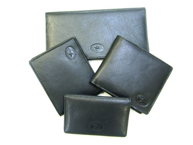Classic black Australian kangaroo leather wallets and card cases in various sizes.