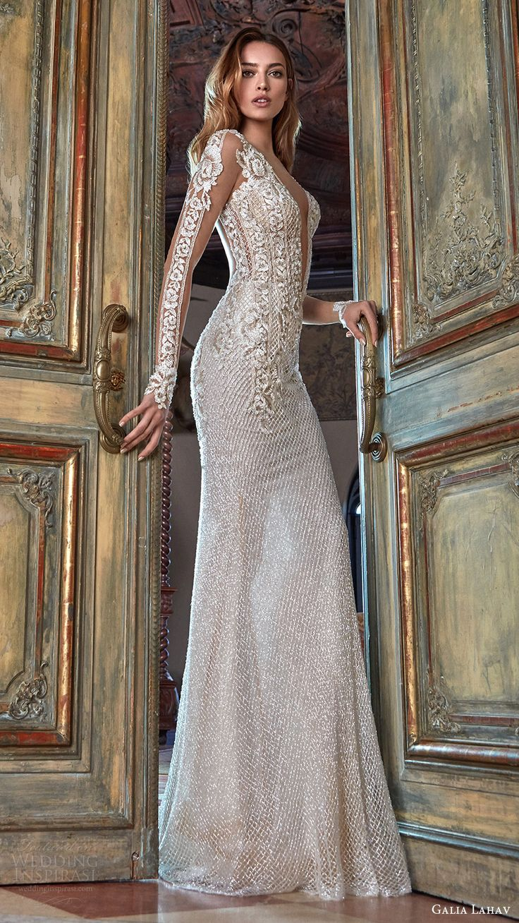 galia lahav bridal spring 2017 illusion long sleeves deep vneck beaded sheath wedding dress (bella) sv