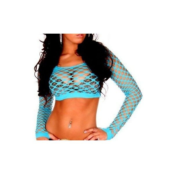 FISHNET NEON CROP CLUBWEAR TOP ❤ liked on Polyvore