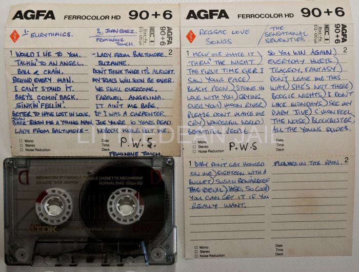 """A selection of cassettes with hand written song lists by Peter Sutcliffe, """"The Yorkshire Ripper"""" before his arrest and since in the secure mental hospital where he is incarcerated note he has now changed his surname to Coonan, his mothers maiden name . This item is now on display at the Crime Through Time Collection, Littledean Jail, Forest of Dean, Gloucestershire."""