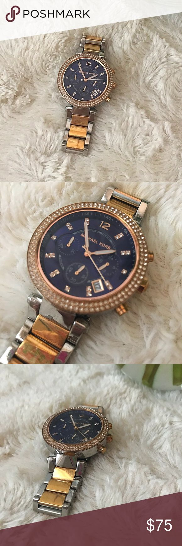 Michael Kors Gold Silver and Blue Watch Michael Kors Gold Silver and Blue Watch Michael Kors Accessories Watches