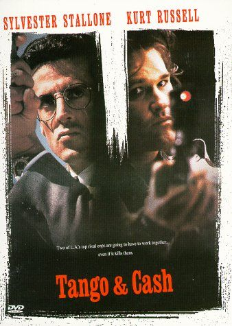 Tango & Cash (1989) Directed by Andrey Konchalovskiy, Albert Magnoli.  With Sylvester Stallone, Kurt Russell, Teri Hatcher, Jack Palance. Two cops are framed and must clear their names.