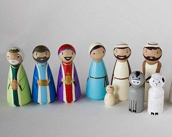 Nativity Peg Dolls by HethrFethr on Etsy