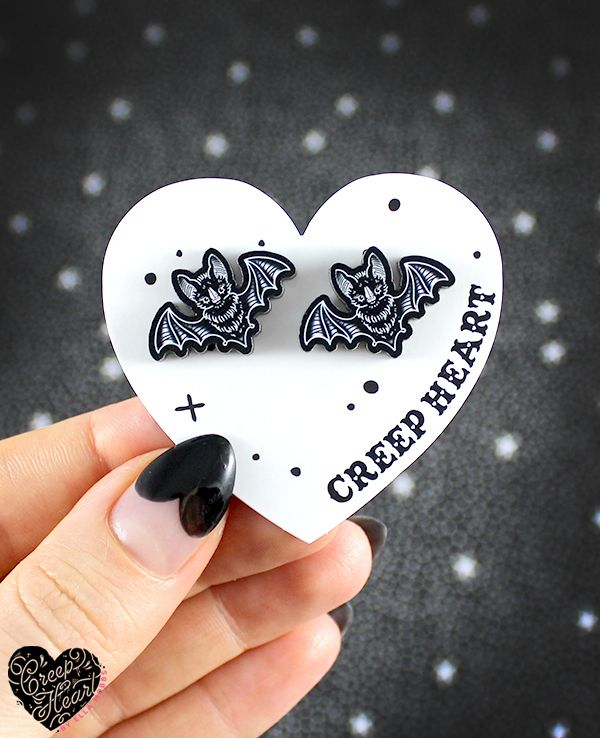 'Bat Echoes' Ear Studs - Creep Heart by Ella Mobbs