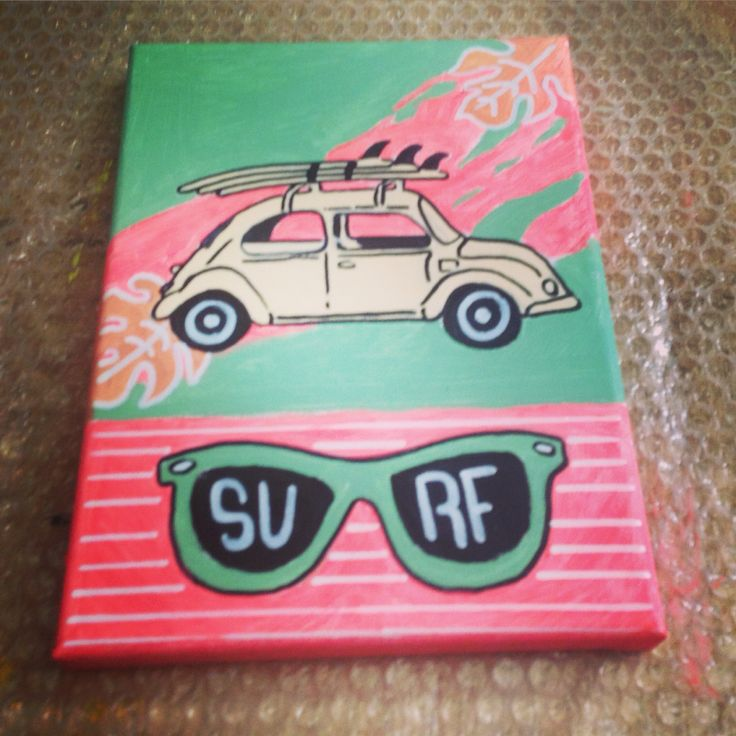 Mini art canvas surf awesome project