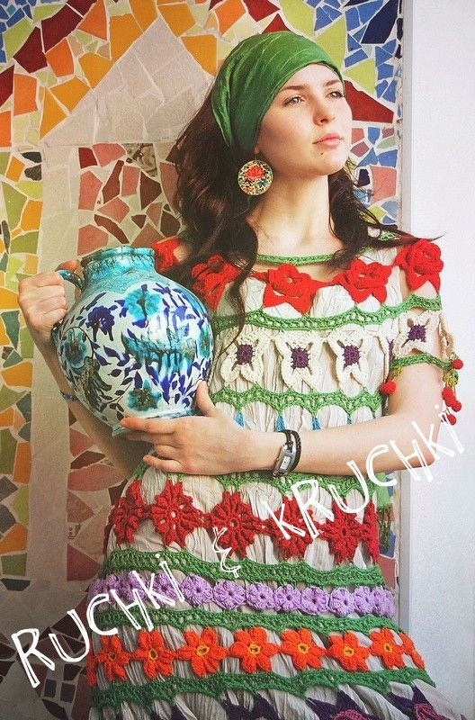 Colorful Crochet Dress - ruchki kruchki