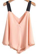 Pink Contrast Spaghetti Strap Chiffon Vest