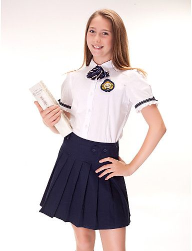 Uniforme escolar de un solo pecho Botones Camisas y Blusas Plain torneadas-down - MXN $ 338.03