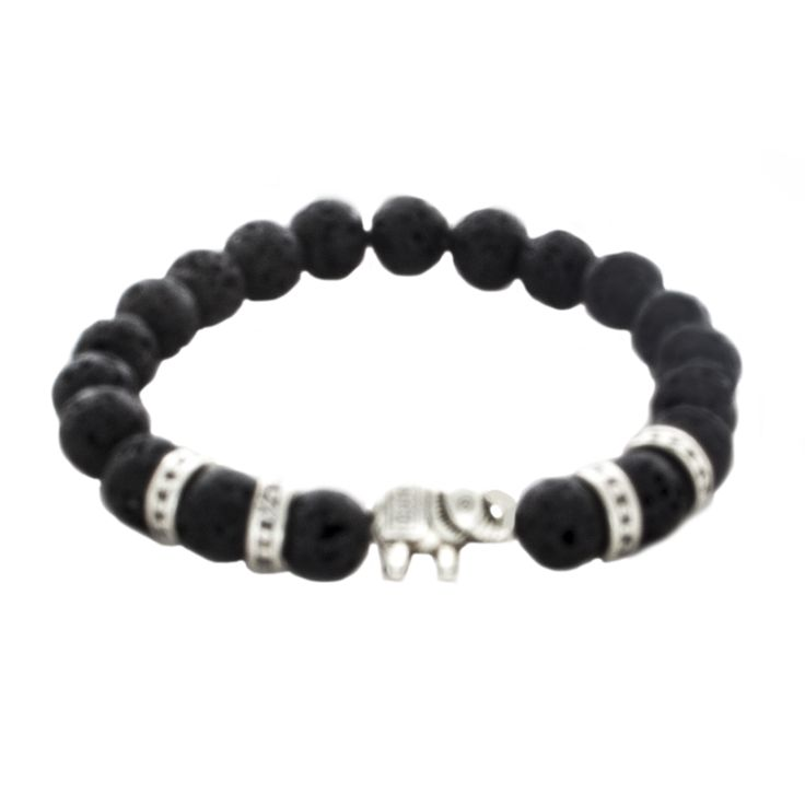 Lave Bead and Tibetan Sillver Spacer and Elephant Bead Stretch Bracelet