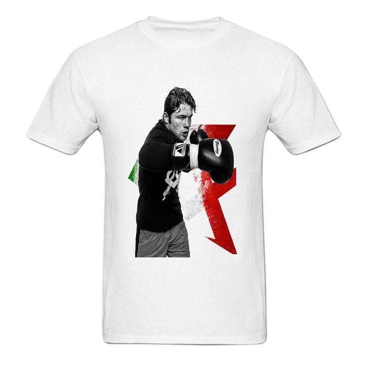 Cotton Shirts Cheap Wholesale  Mens Hip-hop Front Printed Canelo Alvarez Boxer Graphic Crewneck T-shirt M White #Affiliate