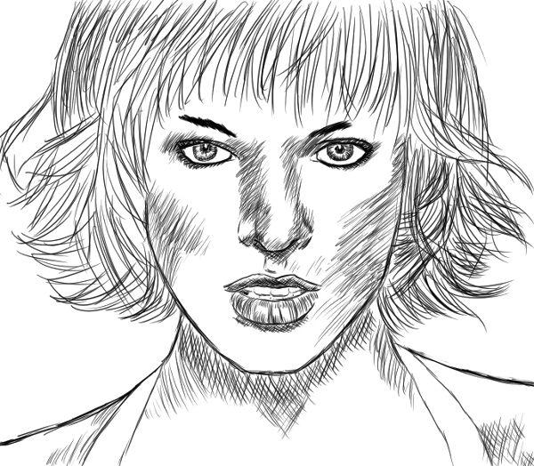 Tentativa de retratar a Mila Jovovich.
