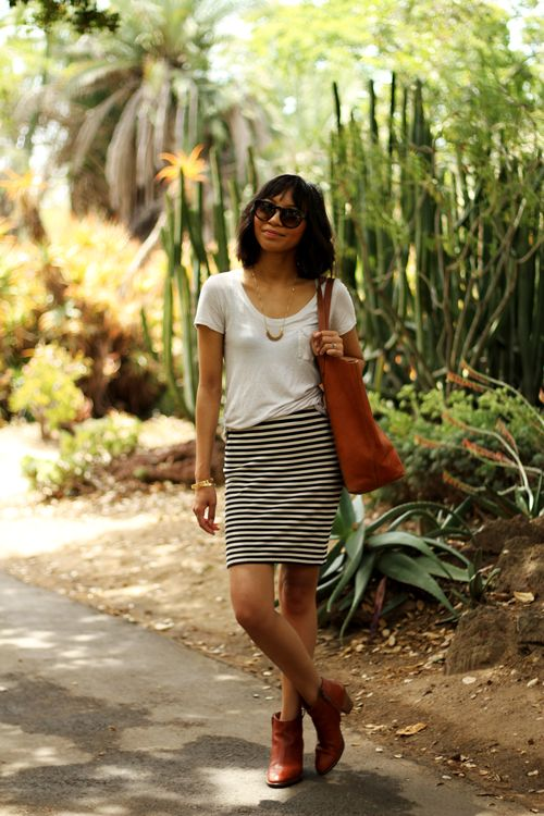 Black and white striped skirt, white t-shirt, brown leather ankle boots (WANT)