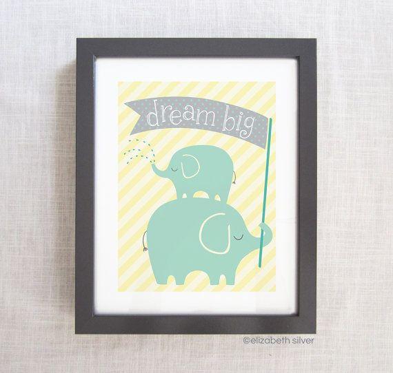 Elizabeth Silver Etsy- Dream Big: Elephant Children's Nursery Giclée Illustration Art Print in Pink, Yellow or Blue