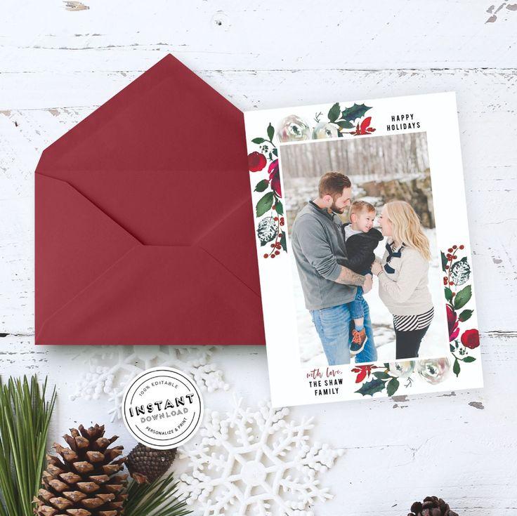 Photo Christmas Card Editable Template | Watercolor ...