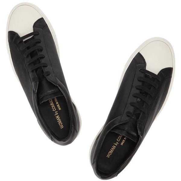 Common Projects Retro Monochrome Leather Trainers (1,185 CNY) ❤ liked on Polyvore featuring shoes, sneakers, leather lace up shoes, lacing sneakers, black leather sneakers, common projects shoes and retro sneakers