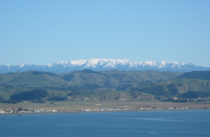 Snow capped mountains, Napier, New Zealand