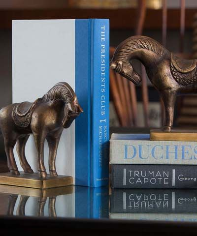 Antique Brasss Tang Horse Bookend A richly-patinaed take on a classic Asian  art form