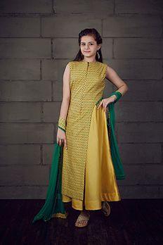 Two layer kurta churidar in chanderi fabric with net dupatta #kidswear #anarkali #Benzer #Benzerworld
