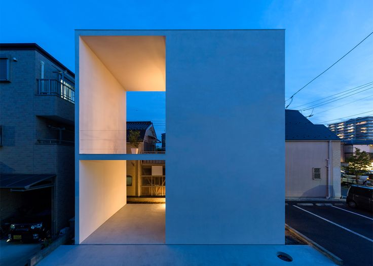 two patios cut through little house big terrace japan architectureminimalist - Minimalist Architecture Houses
