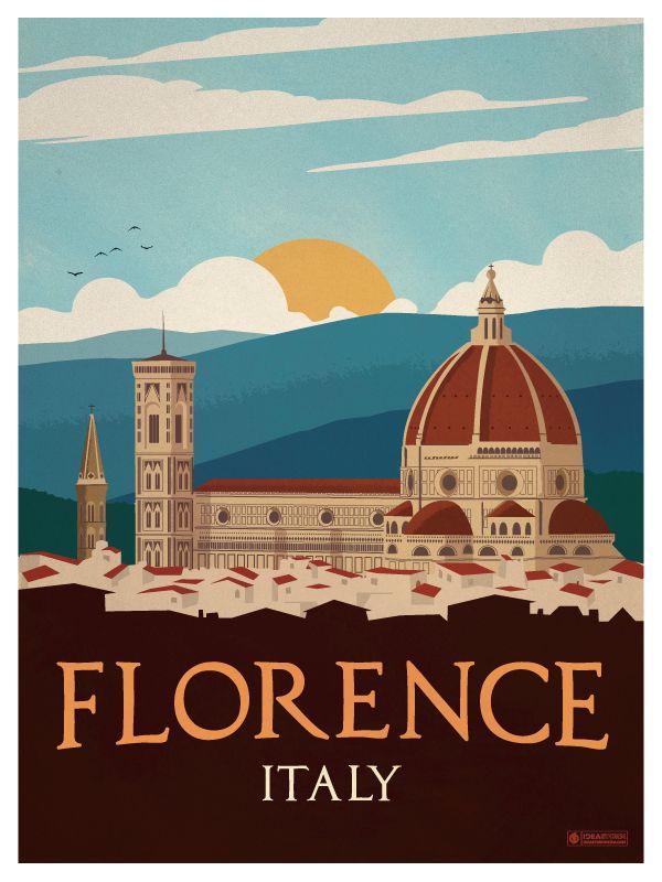 Vintage Florence Poster by IdeaStorm Media http://ideastorm.bigcartel.com                                                                                                                                                     More