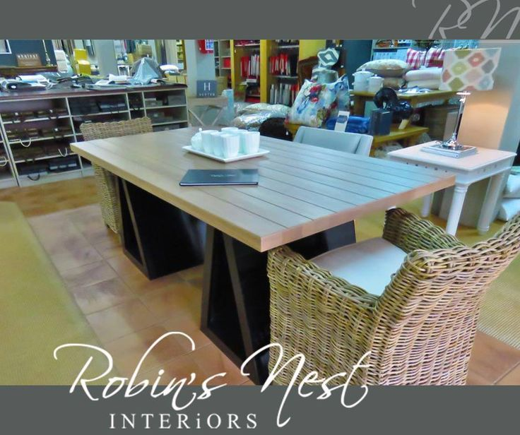 Nothing says style and elegance like a gorgeous statement table with lovely chairs and a simple setting. Get down to #RobinsNestInteriors and have a look at our stunning range of furniture. #interiordesign #decor #furniture