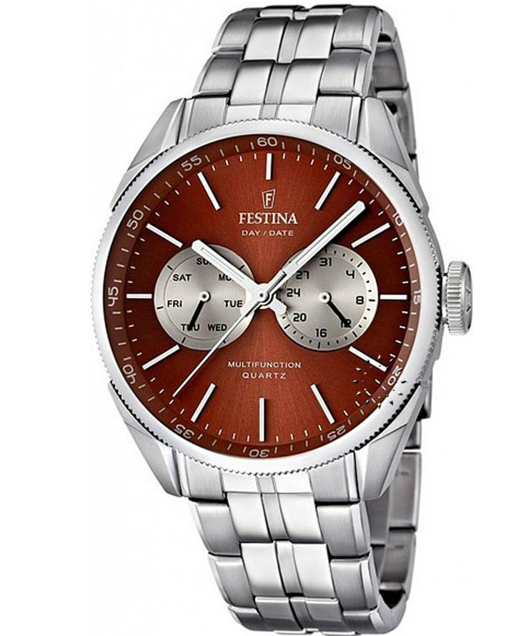 FESTINA Multifunction Stainless Steel Bracelet Red Dial Τιμή: 148€ http://www.oroloi.gr/product_info.php?products_id=38806