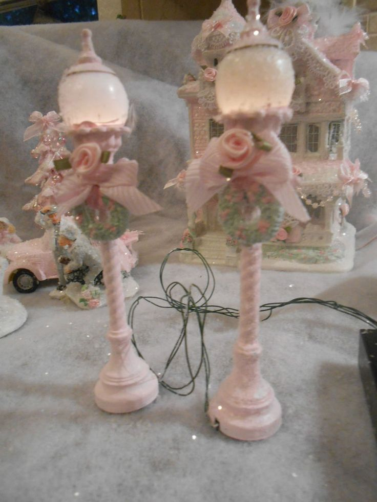 shabby pink victorian christmas village lighted lamp post chic roses glitter