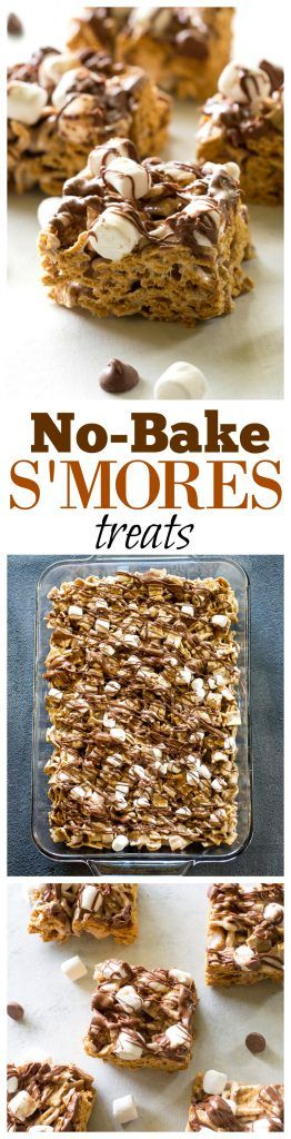 No-Bake S'mores Treats - only 4 ingredients and taste just like S'mores. the-girl-who-ate-everything.com (Bake Desserts Easy)