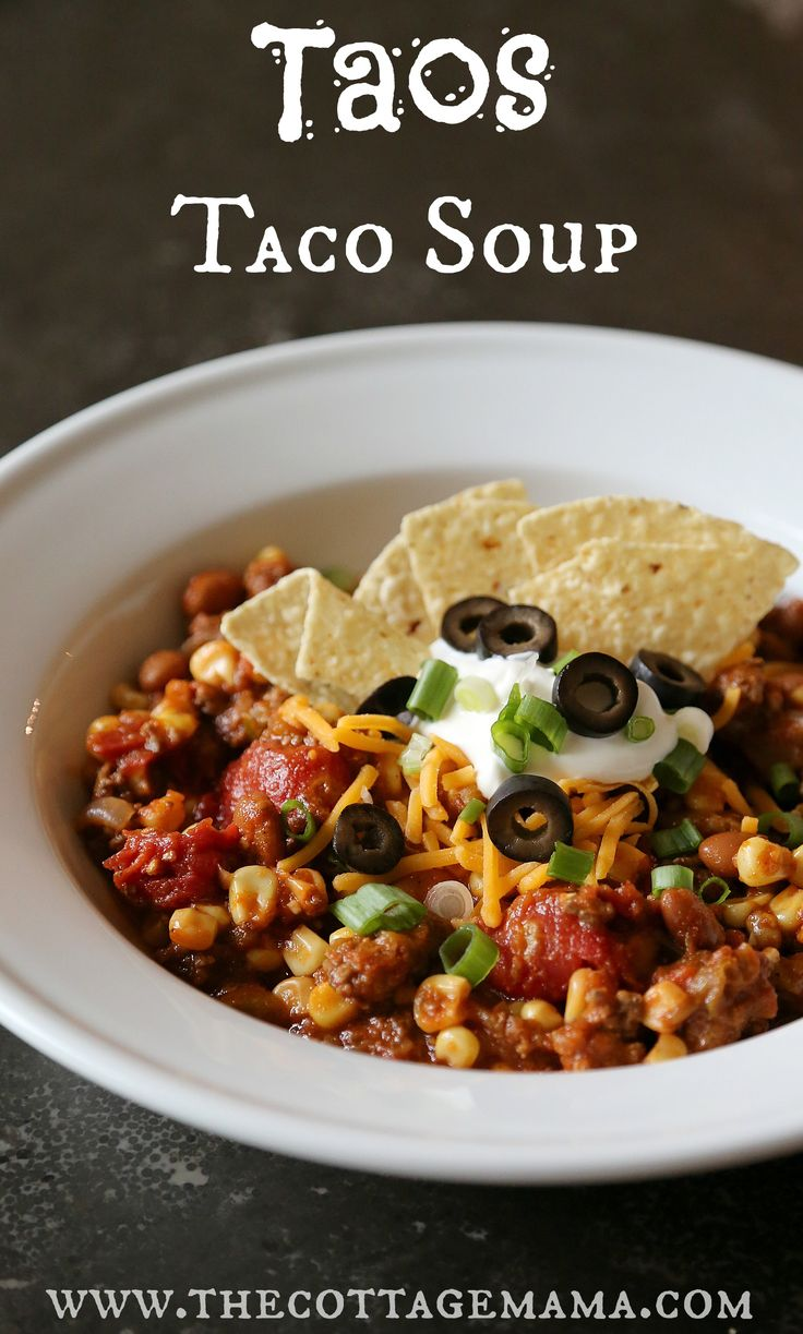 Get this delicious Taos Taco Soup Recipe from Lindsay Wilkes of The Cottage Mama. The perfect southwestern, tex-mex recipe for fall and winter!