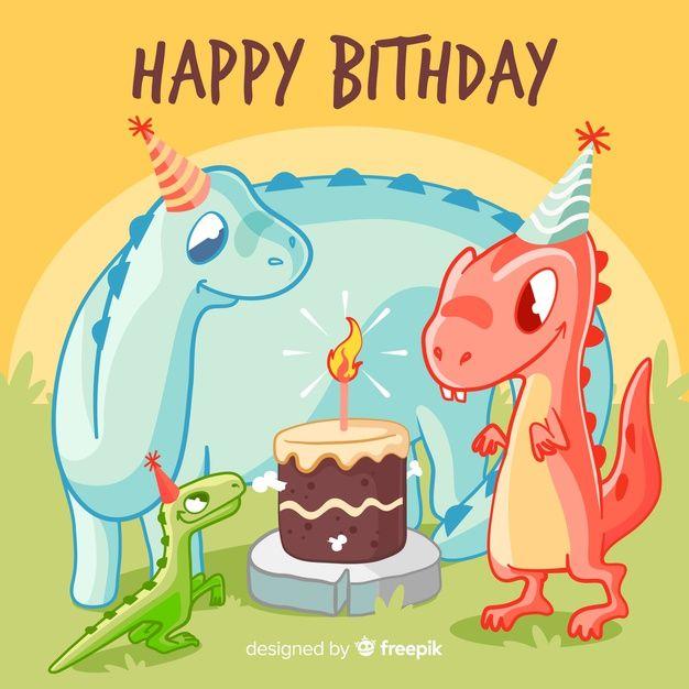 Joyeux Anniversaire Avec Des Dinosaures Free Vector Freepik Freevector Anniversaire Etiquette Joyeuse Anniversaire Anniversaire Dinosaure Dinosaure