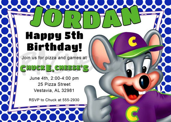 Best Chuck E Cheese Birthday Images On Pinterest Anniversary - Chuck e cheese birthday invitation template