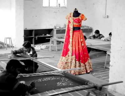 ombre bridal lehenga, orange and red ombre, morning wedding, lightweight bridal…