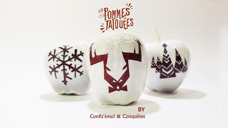 Les pommes tatouées décorées pour les vitrines de Noël.  #Conquêtes & Confiz'émoi #Projet artistique