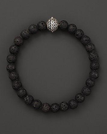 John Hardy Men's Batu Classic Chain Sterling Silver Large Black Volcanic Rock Beaded Bracelet | Bloomingdale's