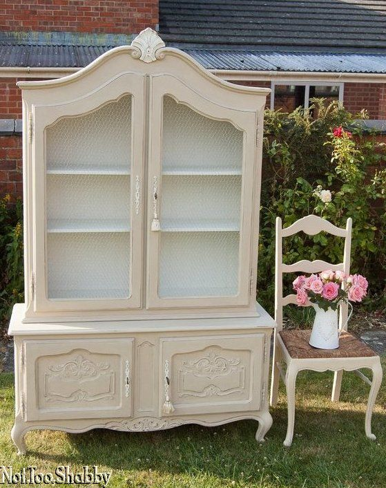 Stunning Armoire / Bookcase / Dresser. Glass has been replaced with chicken wire for a french country feel.