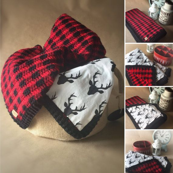 Red and Black Buffalo Plaid Crochet Baby Blanket by WildStrands