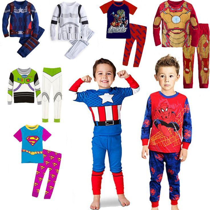 2 шт комплект ребенок мальчик девочка дети пижамы костюмы мультфильм Супермен Бэтмен Розничная Дети 100% хлопка с длинным рукавом пижамы устанавливает 2 -7 Y US $7.12 - 11.99