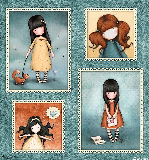 """Gorjuss Heartfelt - Autumn's Girl - Dk Sage - 24"""" x 44"""" PANEL"""
