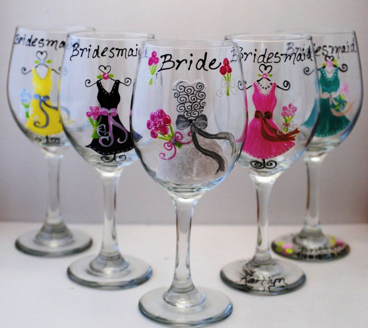 bridesmaid gift idea  Hand Painted Yellow Grey Purple Pink Blue Bridesmaid Wedding Wine Glasses Wedding Favors. $15.00, via Etsy.